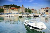 Motorboat moored in the old harbor or marina, Croatia Dalmatia — Stock Photo