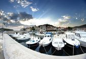 Old harbor or marina and stone houses, Croatia Dalmatia — Stock Photo
