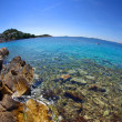 Rocky beach in the bay turquoise sea, Croatia Dalmatia — Stock Photo