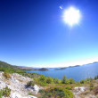 Selandscape with islands - fish eye photo, CroatiDalmatia — Stock Photo #13619466