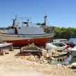 Small sea shipyard and harbor, ship repair, Croatia Dalmatia - Stock Photo