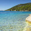 Water polo goals and beach by the sea, Croatia Dalmatia — Stock Photo
