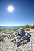 Droge landschap met zee en eilanden, kroatië dalmatië — Stockfoto