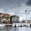 Old harbor or marina and stone houses, Croatia Dalmatia — Foto Stock