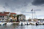 Old harbor or marina and stone houses, Croatia Dalmatia — Stock Photo