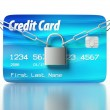 Credit card and padlock, concept of security — 图库照片