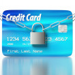 Credit card and padlock, concept of security — Stock fotografie