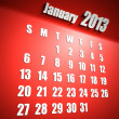 Calendar 2013 january red background - Stock Photo
