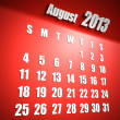 Calendar 2013 august red background - Stock Photo