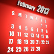 Calendar 2013 february red background - Stock Photo