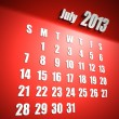 Calendar 2013 july red background - Stock Photo
