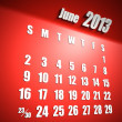Calendar 2013 june red background - Stock Photo