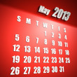 Calendar 2013 may red background - Stock Photo