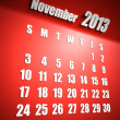 Calendar 2013 november red background - Stock Photo