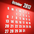 Calendar 2013 october red background - Stock Photo