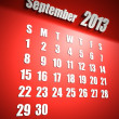 Calendar 2013 september red background - Stock Photo