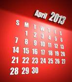 Calendario 2013 sfondo rosso aprile — Foto Stock