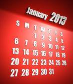 Calendario sfondo rosso gennaio 2013 — Foto Stock