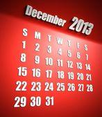 Calendario sfondo rosso dicembre 2013 — Foto Stock
