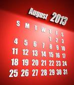 Agosto sfondo rosso calendario 2013 — Foto Stock
