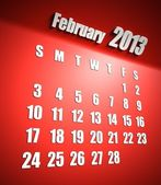 Calendar 2013 february red background — Stock Photo