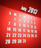 Sfondo di calendario 2013 luglio rosso — Foto Stock