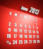 Calendar 2013 june red background — Stock Photo