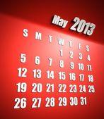 Calendario 2013 può sfondo rosso — Foto Stock