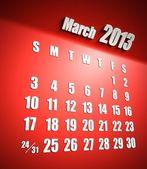 Sfondo rosso marzo calendario 2013 — Foto Stock