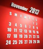Sfondo di calendario 2013 novembre rosso — Foto Stock