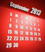 Calendario sfondo rosso settembre 2013 — Foto Stock