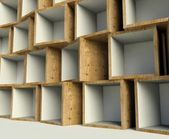 Open wooden boxes on stack, background — Stock Photo