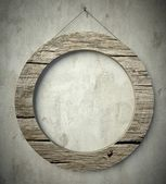 Simple old circle wooden frame, vintage background — Stock Photo