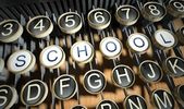 Typewriter with School buttons, vintage — Stock Photo