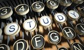 Typewriter with Study buttons, vintage — Stock Photo