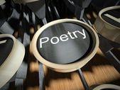 Psací stroj s tlačítkem poezie, vintage — Stock fotografie