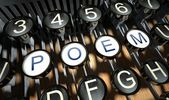 Typewriter with Poem buttons, vintage — Stock Photo