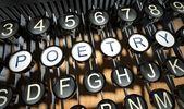 Psací stroj s tlačítky poezie, vintage — Stock fotografie