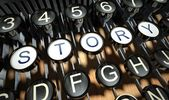 Typewriter with Story button, vintage — Stockfoto