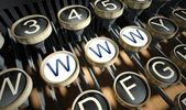 Typewriter with Www button, vintage — Stock Photo