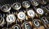 Maszyna do pisania z przycisk słowo, vintage — Zdjęcie stockowe