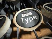 Machine à écrire avec bouton type, vintage — Photo