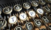 Typewriter with Type buttons, vintage — Stock Photo