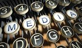 Typewriter with Media buttons, vintage — Stock Photo
