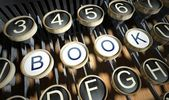 Typewriter with Book buttons, vintage — Stock Photo