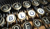 Typewriter with Blog buttons, vintage — Foto Stock