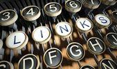 Maszyna do pisania z przycisków, linki, vintage — Zdjęcie stockowe