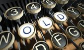 Typewriter with Old buttons, vintage — Stock Photo