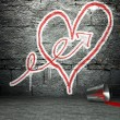 Stock Photo: Graffiti wall with arrow and heart sign, street background