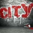 Graffiti wall with city, street background — Stock Photo